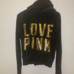 PINK by VS Black Velour Track Suit Jacket